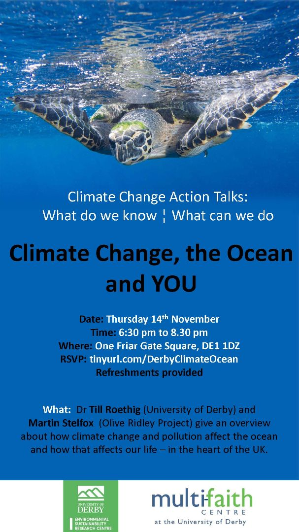 Poster of climate change event with picture of turtle in sea