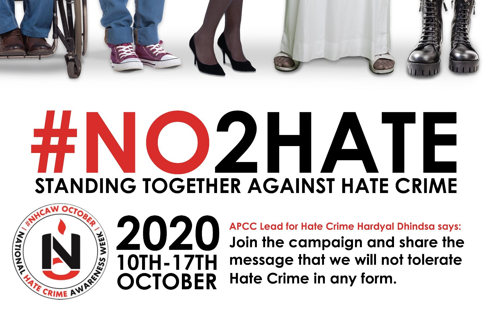 Poster with 'No to Hate' below images of different types of shoes