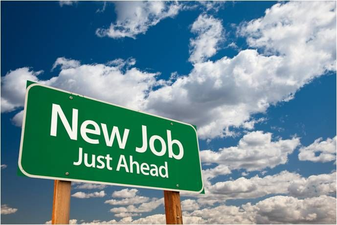 New Job text against sky background
