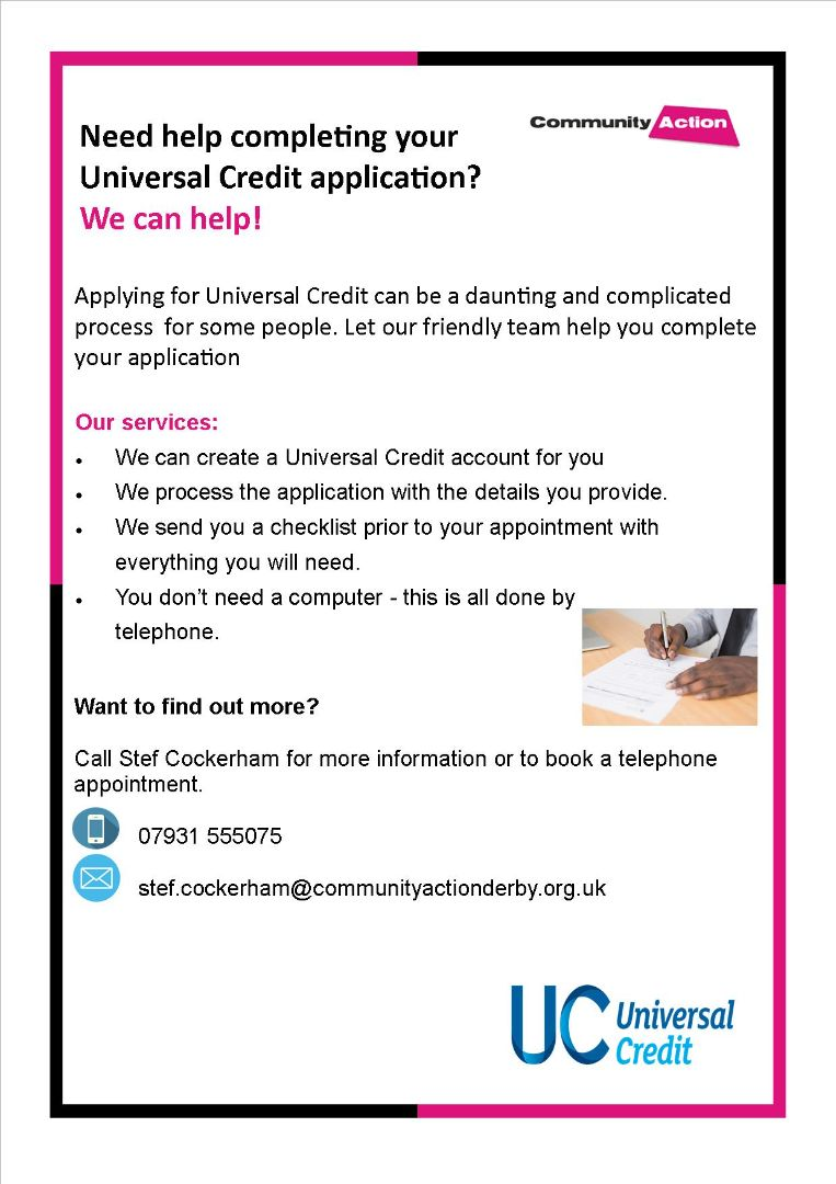 Flyer for help with universal credit application