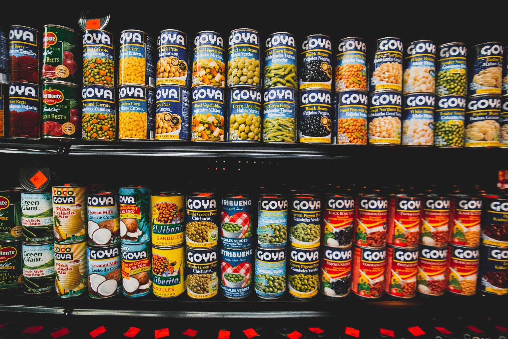 shelves of canned food