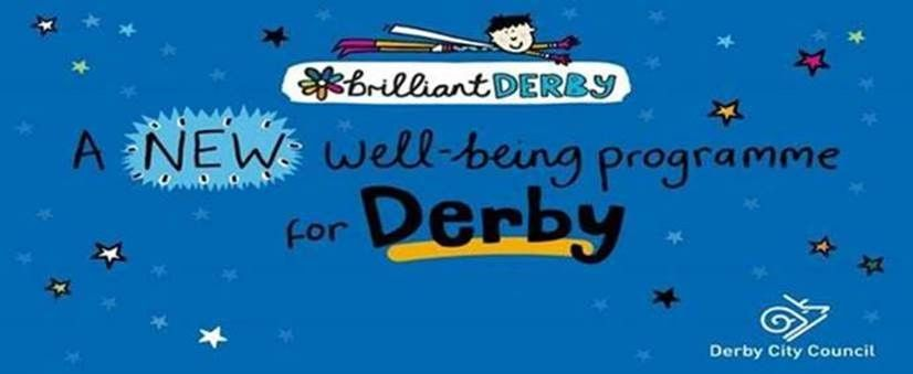 blue background with cartoon male lying across 'Brilliant Derby' logo