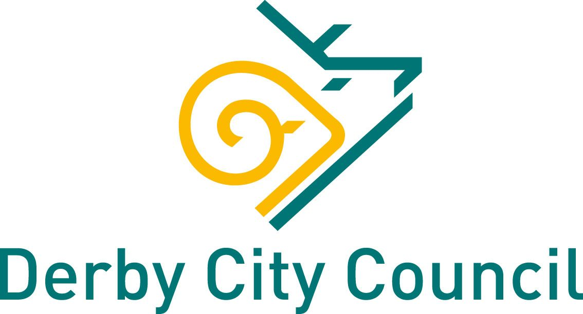 Derby City Council logo - green and yellow outline of ram