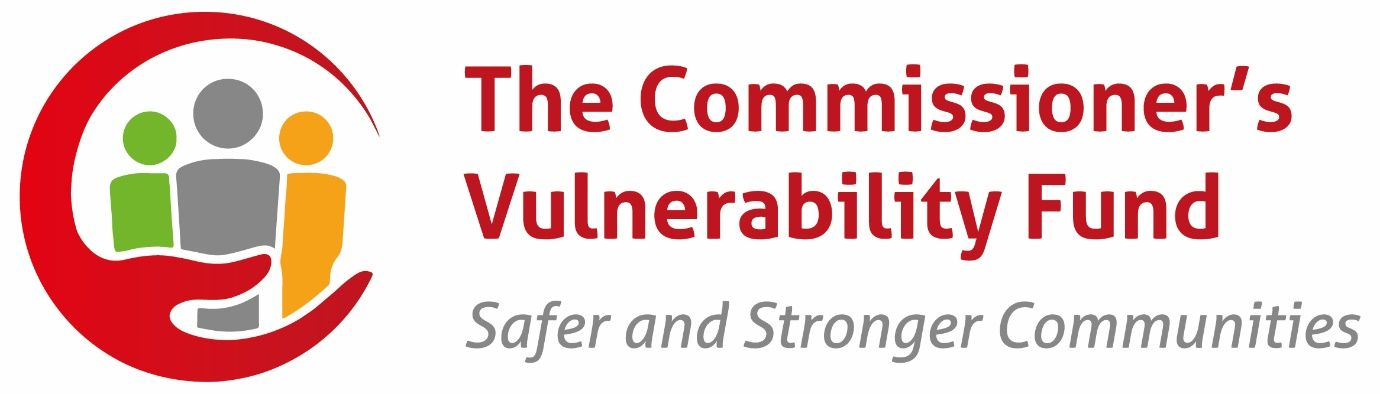 Text: The commissioners vulnerability fund. Safer, stronger communities