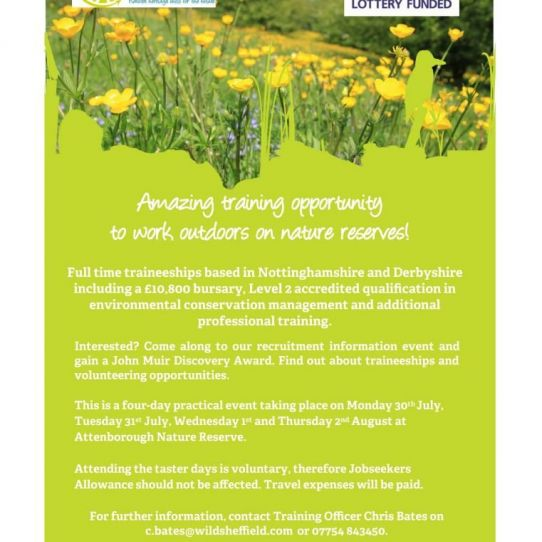 Derbyshire Wildlife Trust Paid Trainee Programme