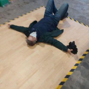 An exhausted volunteer