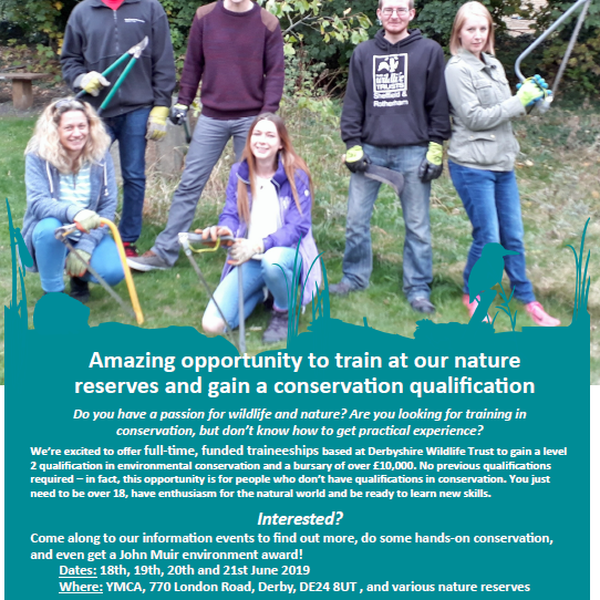 Traineeships in Conservation with Derbyshire Wildlife Trust